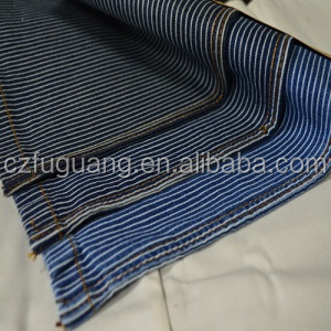 cotton stripe black/blue white denim fabric