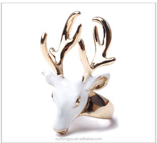 lady lovely cow head ring/creative brass women ring/top quality ring