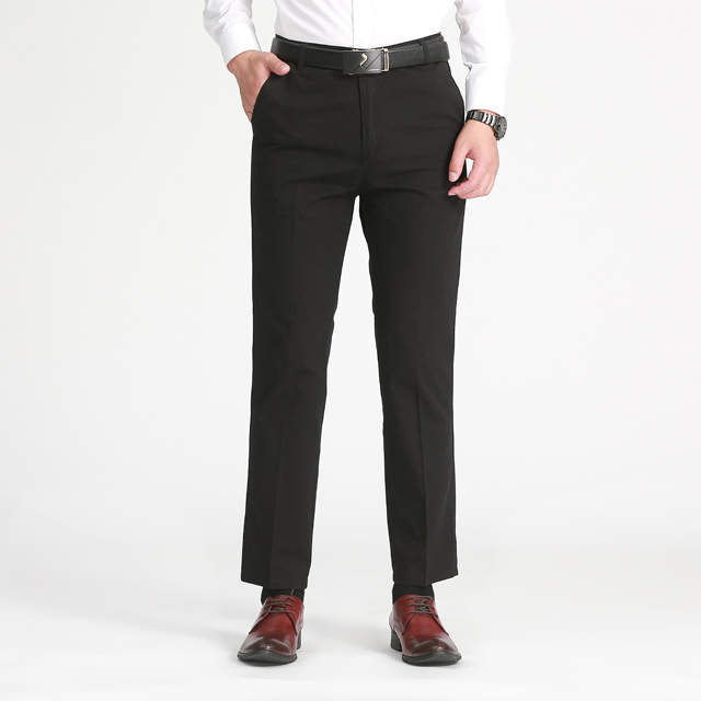 New Black Business Cotton Polyester Casual Pants for Middle-aged Men in 2019