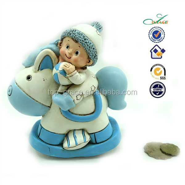 Polyresin baby shower rocking horse baby safe money bank