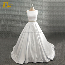 High Quality Satin Custom Ball Gown White Wedding Dress Bridal Gown