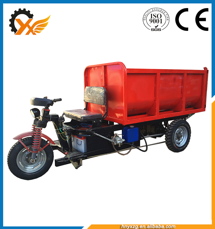 electric mini dumper truck tricycle/steering wheel electric dump turck tricycle