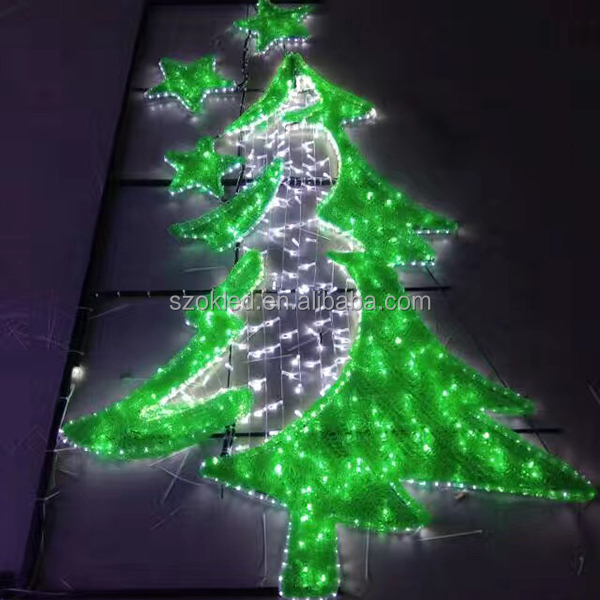 christmas holiday decoration outdoor LED snowflake motif light with rope light, LED chretmas tree motif light