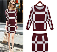 EY0204S Autumn Winter Women Fashion Round neck long sleeve knit sweater and skirt