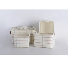 DM 862 Fashion Plain Plaid Storage Bucket Cotton And Linen Canvas Laundry Toy Storage