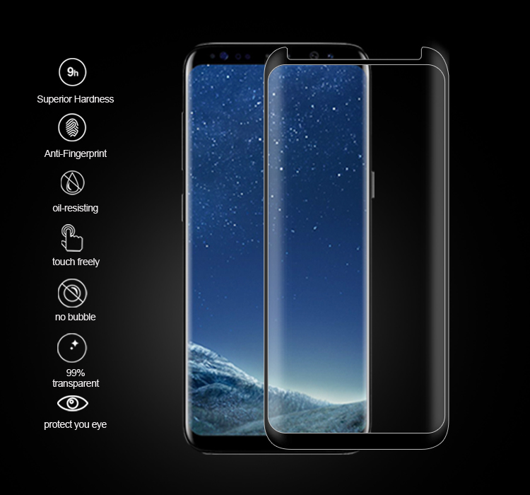 Case friendly 3D curved tempered glass screen protector for Samsung Galaxy S8 S8 Plus