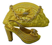 Yellow shoes and matching bag set sandal shoes