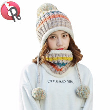 Unique Winter Soft Warm Earflap Pom Fleece Lined Cable Beanie Hat with string