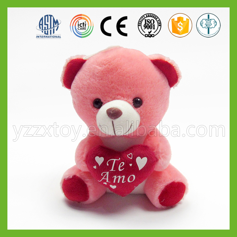 2016 fashion kids plush red teddy bear toy with red heart
