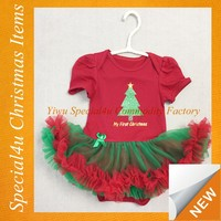 Baby girls colorful chevron christmas tree dress christmas baby tutu dress SYCI-046