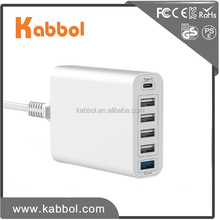 Cell Phone USB Charger - 60W 12A 6 Port USB Wall Travel Charger Station Hub with Qualcomm Certified Quick Charge 3.0 for Note 5
