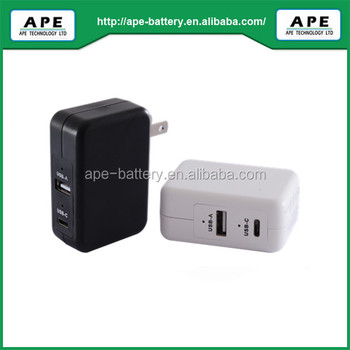 Embedded USB3.1 PD & Smart dynamic power allocation function wall adapter output 20V/1.5A charge for MacBook Pro/iPad Pro