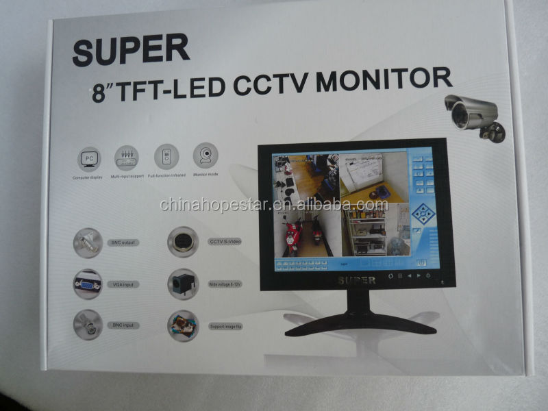 8 inch 1024*768 TFT LCD Monitor with AV+PC+BNC Inputs