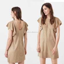 Elegant Women Plain Cotton Spandex Ruffle Sleeve Loose Open Back Lastes Designs for Ladies Mature Sexy Evening Clothes Wholesale