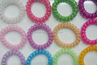 H628-024 fluorescent color telephone line elastic plastic wholesale hair ring rubber band candy color hair ornament