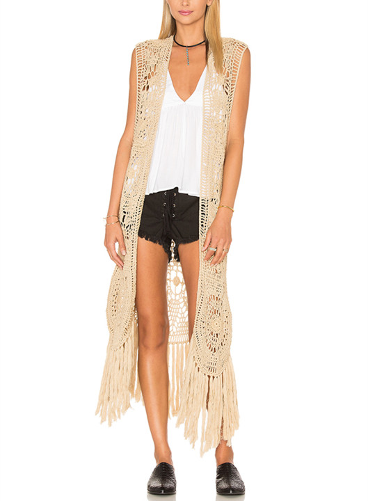 Crochet Duster Clothing Fringe Trim Sleeveless Long Kimono Jacket HSC2584