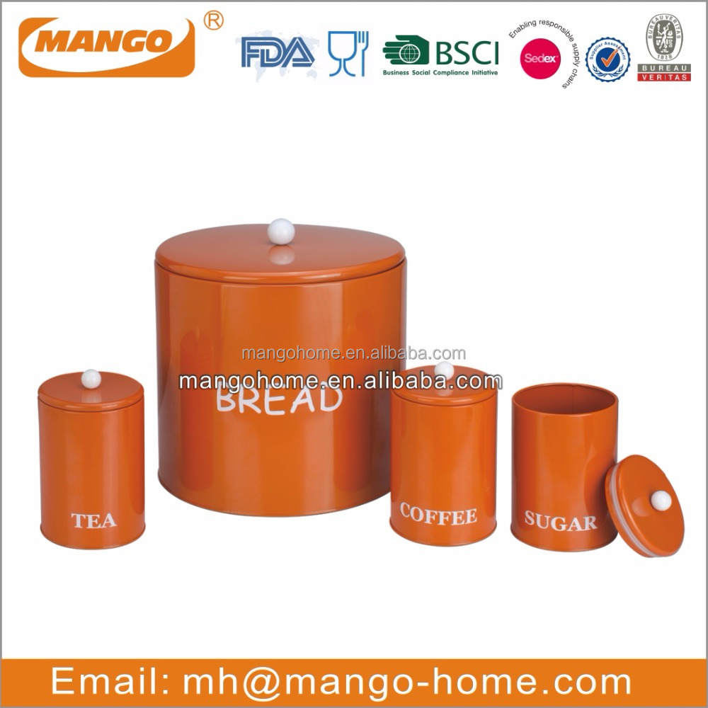Round Metal bread box and canister set