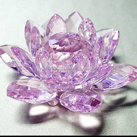 Wholesale Fengshui glass pink lotus crystal flower/lotus crystal favors