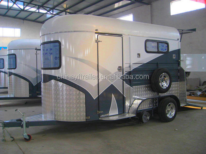 Hot sale standard 2 horse straight trailer with kitchenette
