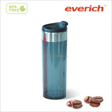 everich double wall transparent color plastic travel mug with stainless steel rim