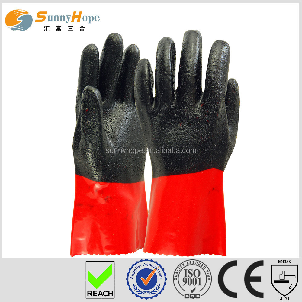Sunnyhope PVC chips enforced oil resistant gloves