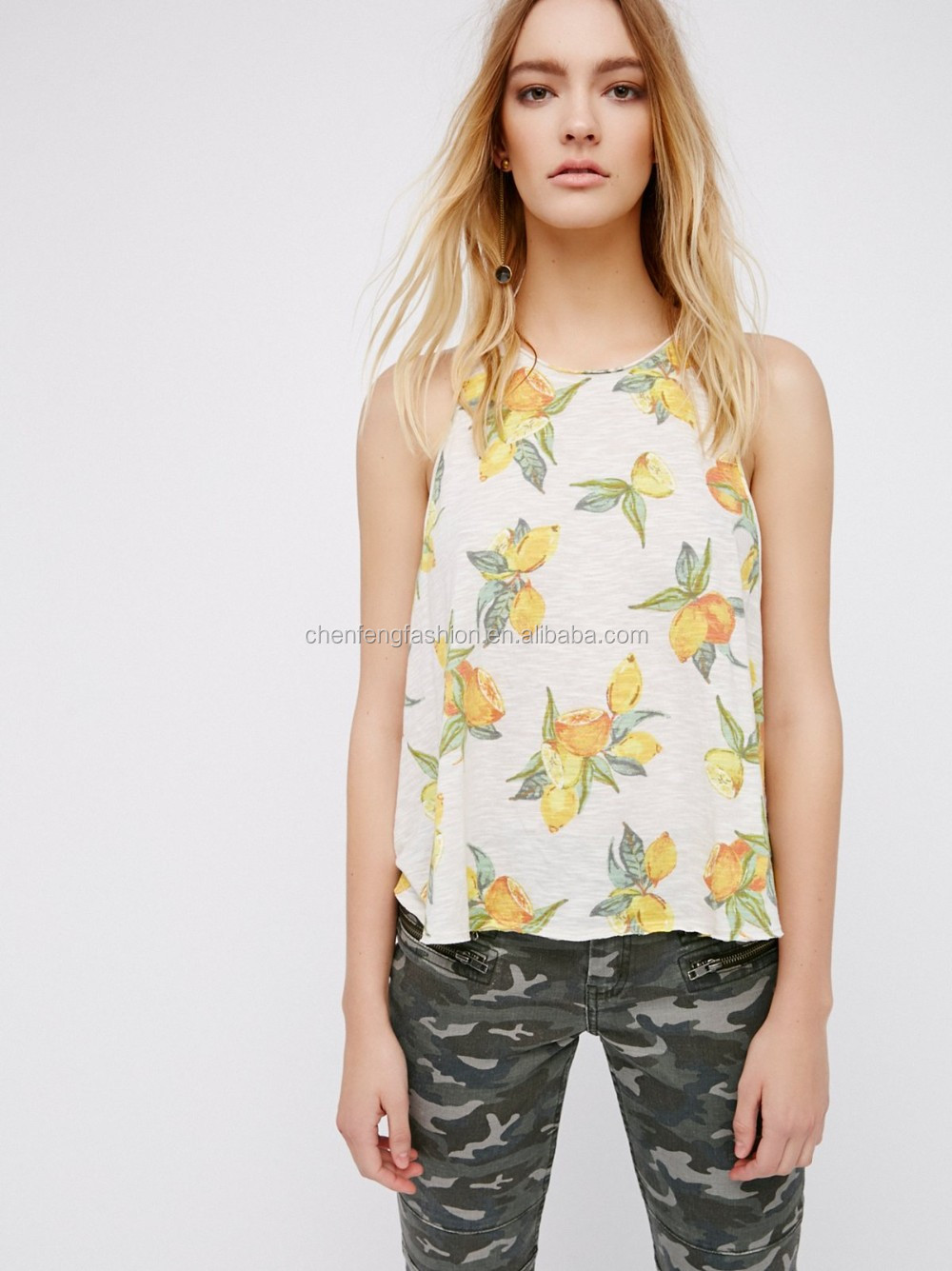 Ladies Sexy Relaxed Fit All Over Fresh Citrus Print Swingy Tank