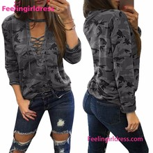 Loose Mix Color Camo Lace Up Women Blouse Cutting Stitching