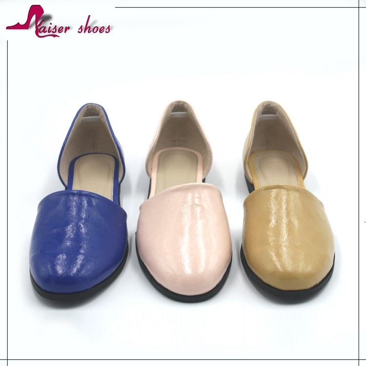 SSK16-310 Free sample China wholesale latest fashion PU leather gum rubber sole semi pointed toe ballet flat shoes for woman