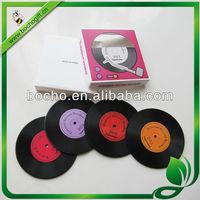 Record Coaster with printed logo, custom vinyl style mat, vinyl non-slip mat
