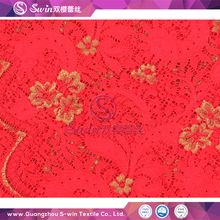 African Wedding Use Red Nylon Knitted Gold Metallic Lace Fabric for Designing Clothing