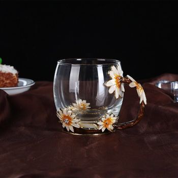 Factory directly selling customizable eco-friendly flower household glass coffee cup with best price