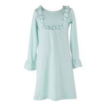 Baby frock design pictures children wears dress candy color long sleeve round collar cotton ruffle dresses