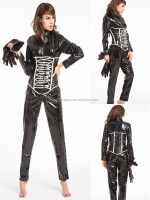 Instyles walson Lady Sexy thick fabric latex rubber catwoman faux leather catsuit