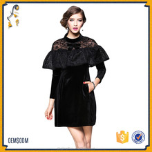 2017 New Ruffle Velvet Long Sleeve Dress Wholesale Patchwork Sexy Party Clothing
