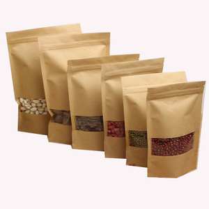 Stand Up Brown kraft paper zipper bag with window