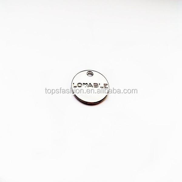 Fashion engraved logo gold color custom swimwear metal label for garment