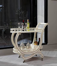 YM059 romatic Vitoria queen elegant ivory whitematching full set dining car trolly antique rococo dining room furniture set