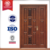 Double Swing Entry Interior Wood Door Solid Wooden Door in Guangzhou
