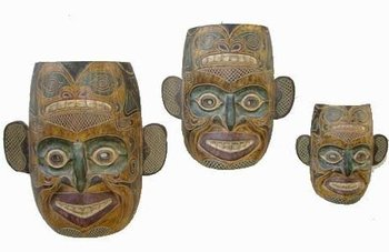 "Masks - ""Jubilation"" Hand Carved Wood Mask Wall Art"