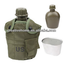 3-in-1 1L US Army Military Outdoor Water Bottle Drinking Container with Canteen & Nylon Carrying Pouch