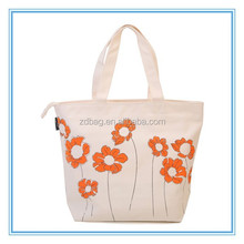 Custom order canvas tote bags with zipper closure , plain white cotton canvas tote bag