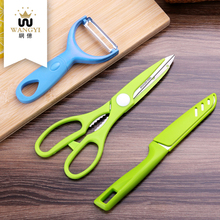 Wholesale set stainless steel 3pcs fruit knife set with peeler scissors