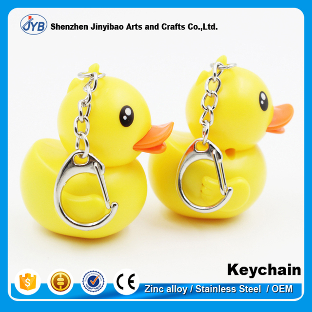 Best promotion gift aminal duck key chain Type and Plastic Material led light keychains