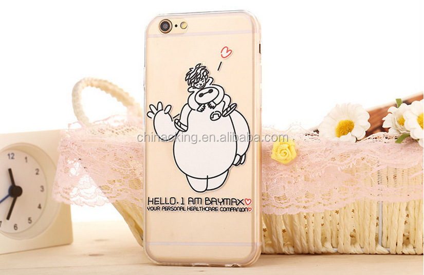 2015 New Ultra-Thin 0.3mm Transparent TPU BigHero 6 Baymax Case For iphone5 5s Mobile Phone Case