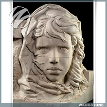 Hand Carved Girl Head Bust Stone Statue