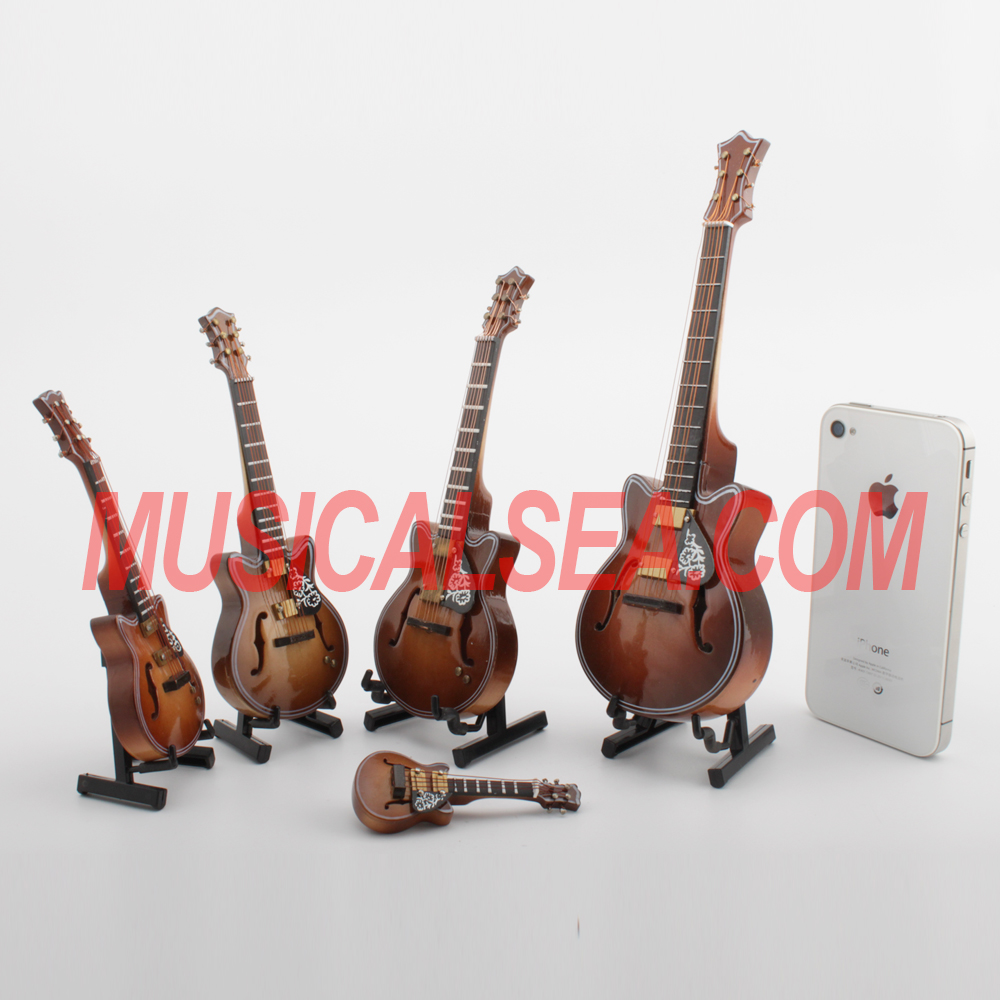Miniature guitar small Wooden model decoration and music box musical instrument craft