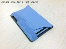 Hot !!! Business Bags & Cases/Genuine leather stand sky-blue color case cover with strap for 7 inch mini ipad