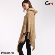 ladies women high neck comfortable warm loose pullover crochet knit poncho pattern sweater