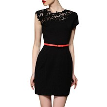Latest One Piece Frock Design Patterns Black Peplum Lace Dress For Women