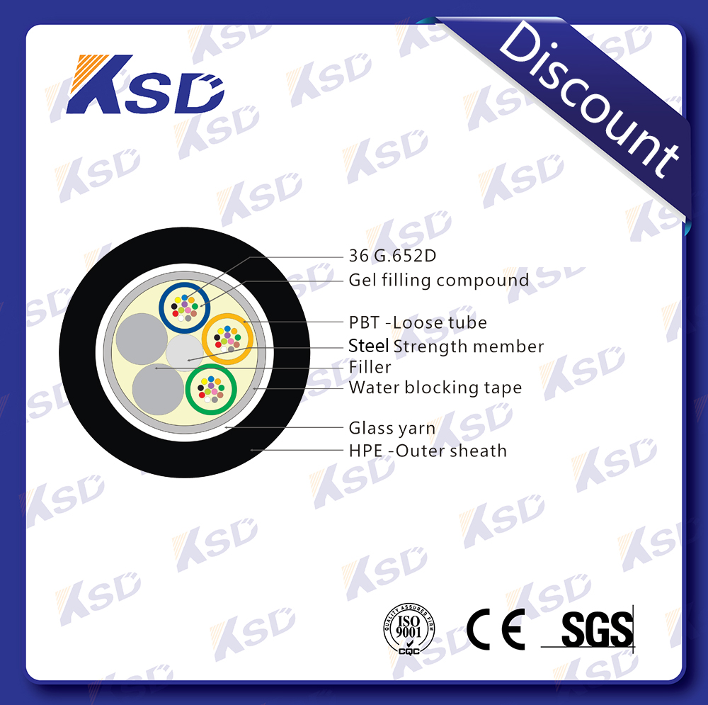 Communication Layer Strand Loose tybe metallic ISO9001 ROHS CE certificate Outdoor 36 core single/multi mode optic fiber cable